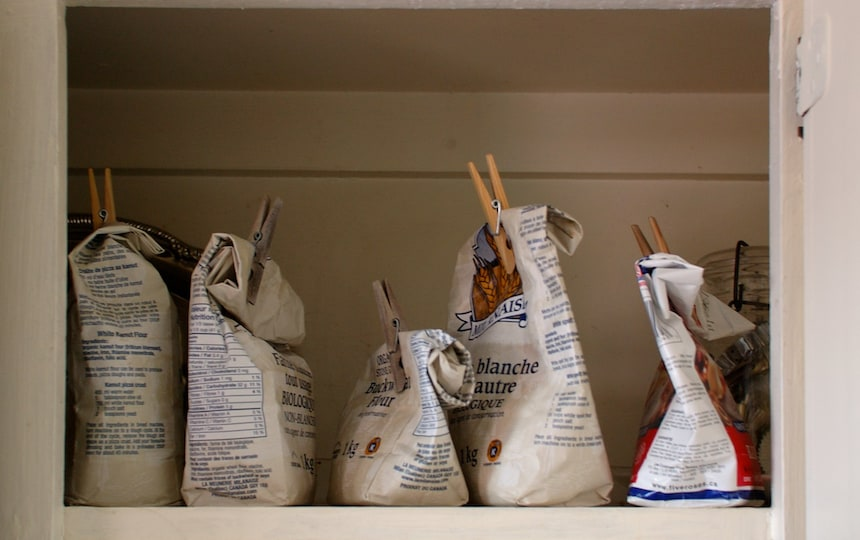 flour in pantry