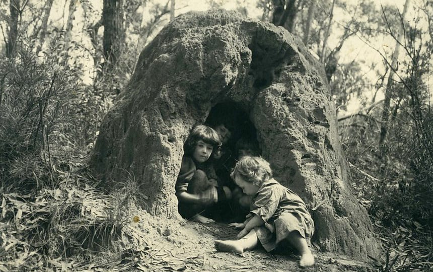 cazneaux children playing in an anthill c.1915 by Harold Cazneaux